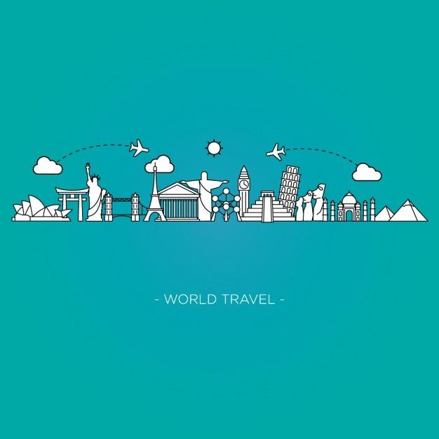 世界の旅行背景 無料ベクター