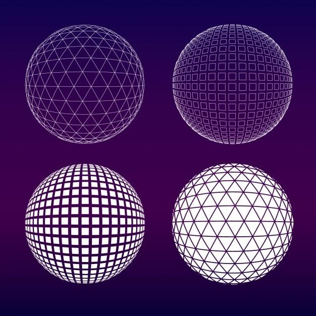 紫の球体コレクション 無料ベクター