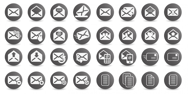 Установите значок электронной почты векторный логотип иллюстрации дизайн Premium векторы