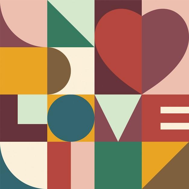 Сердце и любовь дизайн фона Premium векторы