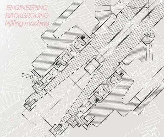 明るい背景上の機械工学図面 Premiumベクター