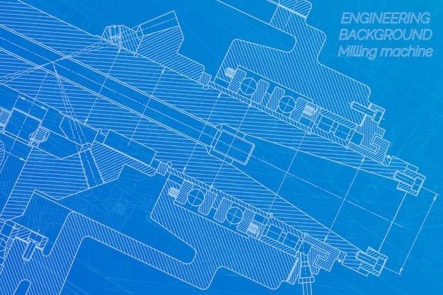 Машиностроительные чертежи. фрезерный станок шпинделя. технический дизайн Premium векторы