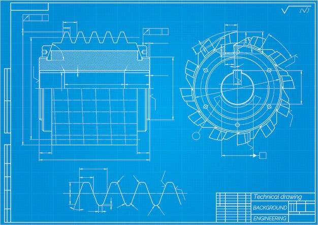 機械工学図面切削工具、フライスカッター。テクニカルデザイン Premiumベクター