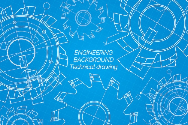 青い背景上の機械工学図面。切削工具、フライスカッター。テクニカルデザイン青写真。ベクトルイラスト Premiumベクター