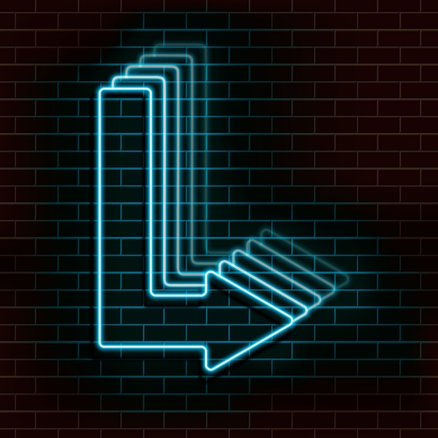 レンガの壁に青いネオンの矢印。 Premiumベクター