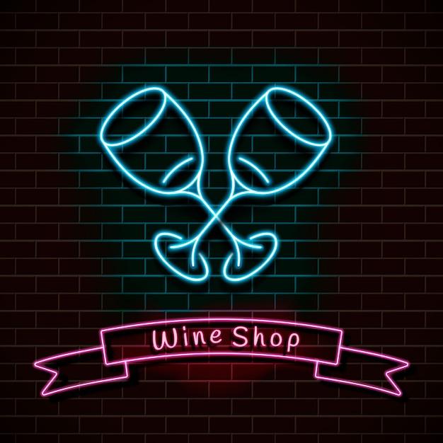 ワインショップ。ネオンブルーのサイン。レンガの壁に光を当てます。 Premiumベクター
