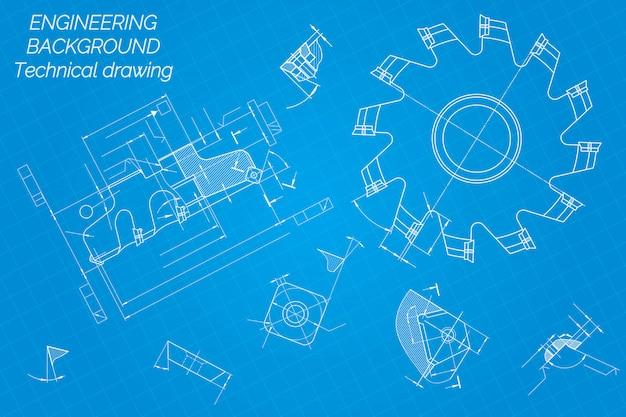 機械工学図面。切削工具、フライスカッター。 Premiumベクター