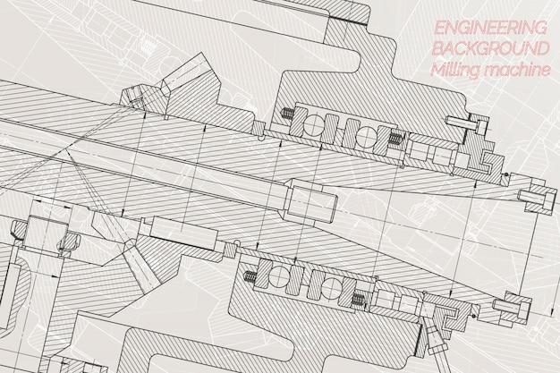 明るい背景上の機械工学図面。フライス盤のスピンドル。 Premiumベクター