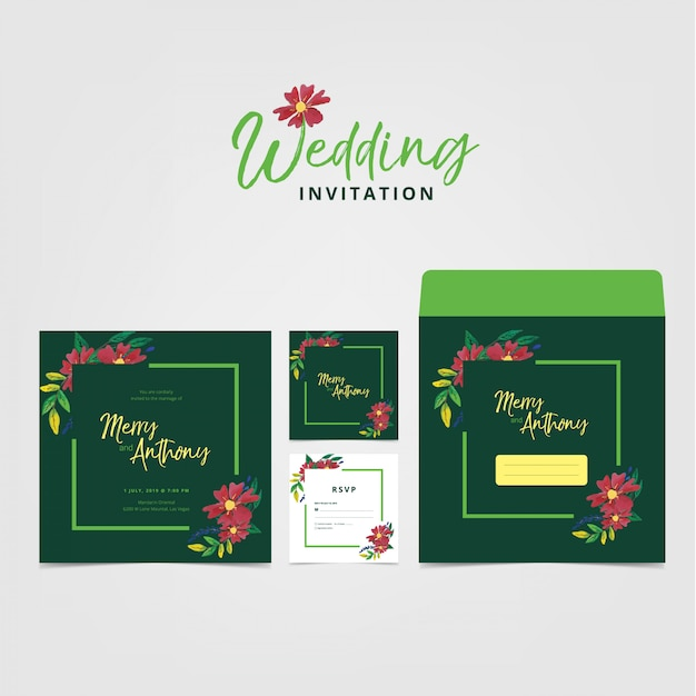 結婚式の招待状カードのテンプレート Premiumベクター