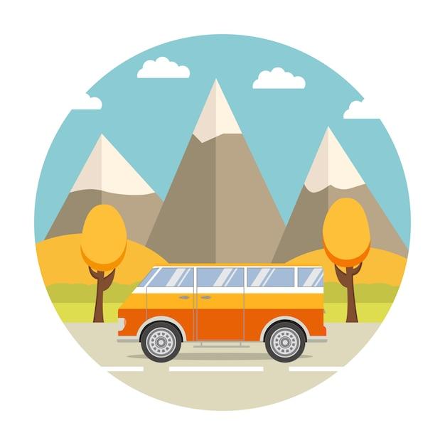 Поездка в фургоне и осенний пейзаж с горами. Premium векторы