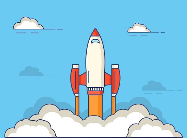 飛行中の宇宙ロケットの開始。 Premiumベクター