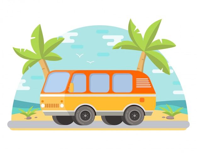 海岸の熱帯の風景のヤシの木、砂浜のバン。 Premiumベクター