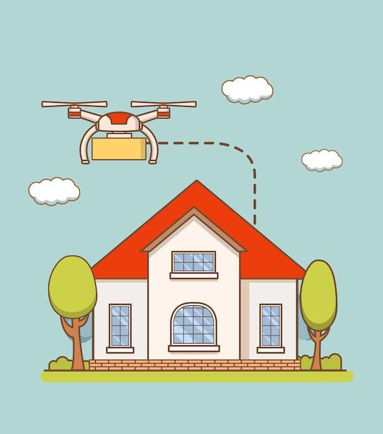 Сервис по доставке товаров воздушными дронами на дом. Premium векторы
