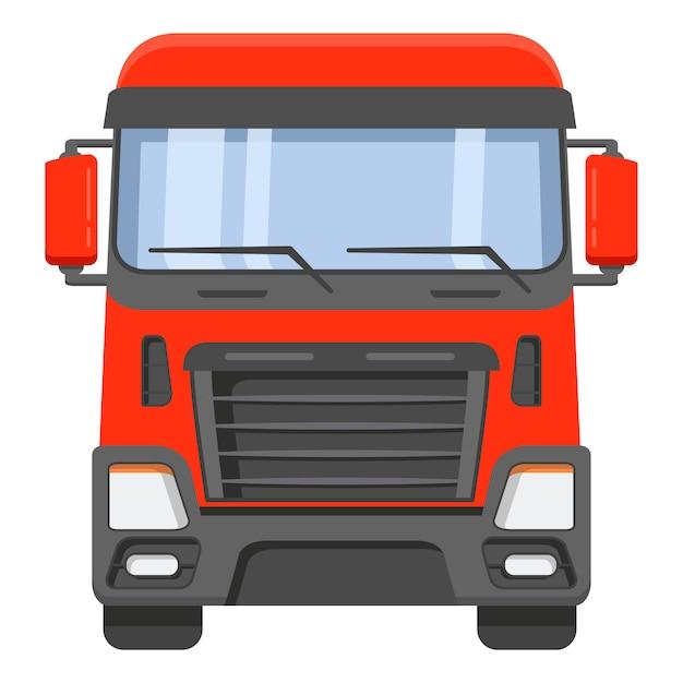 Вид спереди на кабину грузовика. Premium векторы