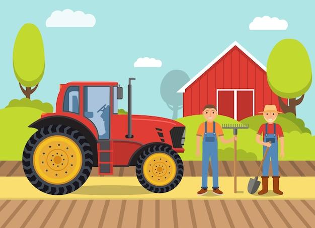 Сельский пейзаж с трактором и фермерами и сараем. Premium векторы