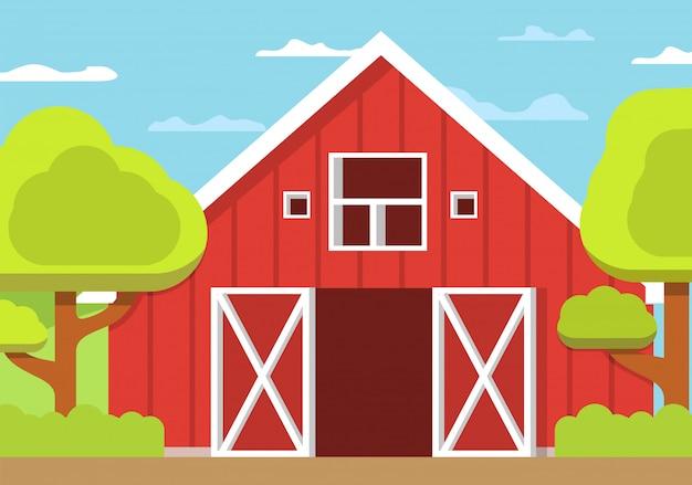 農村景観農場、木造の納屋は、フラットスタイルを開きます。 Premiumベクター