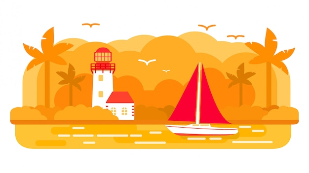 Тропический остров парусной яхты корабль, летние морские путешествия, маяк башни. Premium векторы