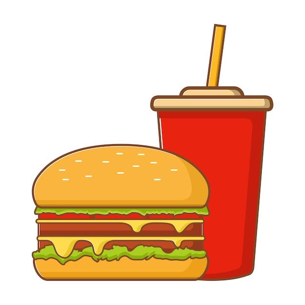 プラスチックカップのファーストフード、ハンバーガー、ソーダ水。 Premiumベクター
