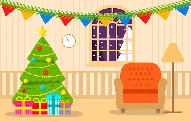 クリスマスツリーインテリアリビングルームギフト付き。 Premiumベクター