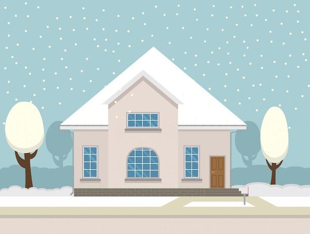 カントリーハウスと雪が降るインター風景。 Premiumベクター