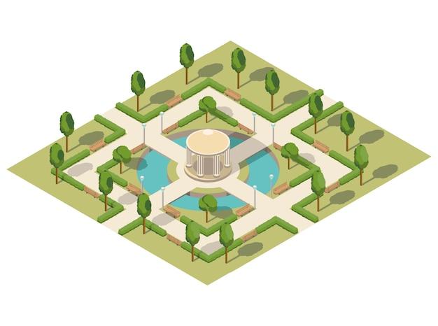 Летний городской изометрический парк с прудом Premium векторы
