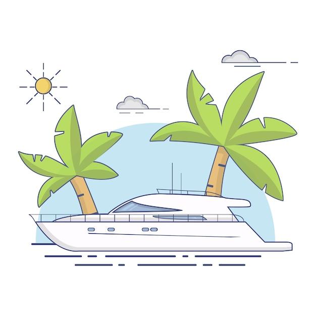 Роскошные путешествия морские яхты корабль тропический остров пальмы Premium векторы
