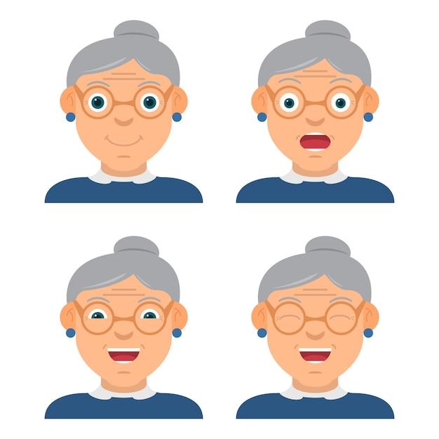Забавная бабушка в очках носит характер с разными эмоциями и взглядом. Premium векторы
