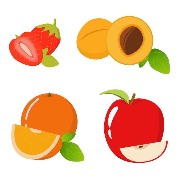 Клубника, абрикос, красное яблоко, апельсин натуральная фруктовая еда. Premium векторы