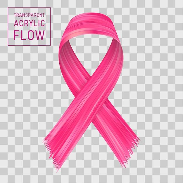 ピンクのリボンの流れ。癌との戦いにサインしてください。 Premiumベクター