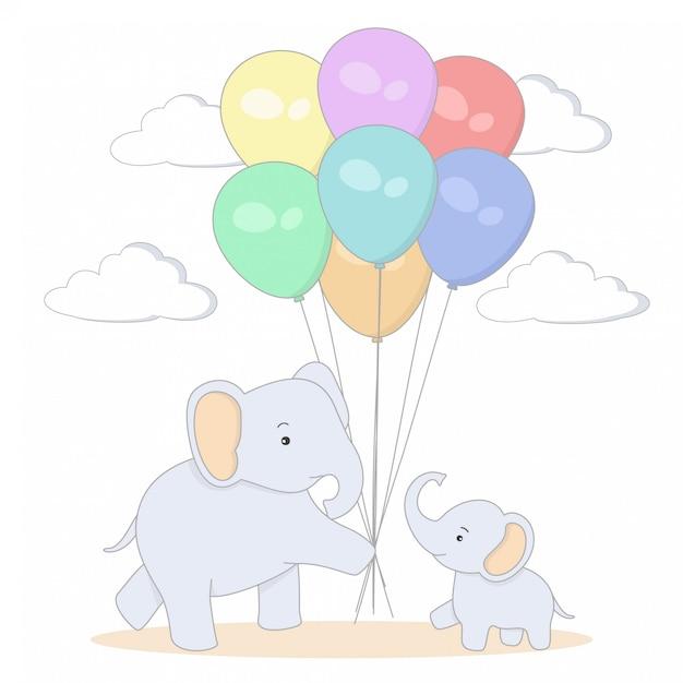 Слон мать и дитя с разноцветными шарами Premium векторы
