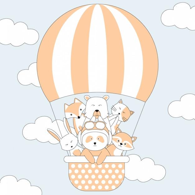 手描きのかわいい動物と気球の漫画 Premiumベクター