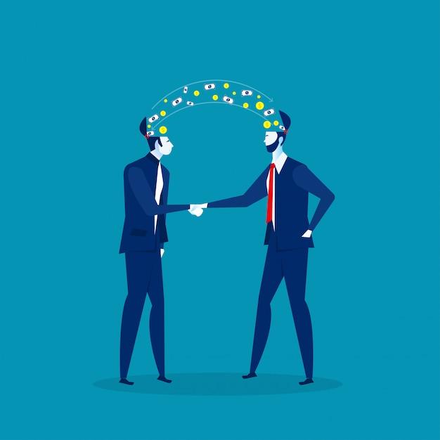Два бизнесмена рукопожатие с инвестиционной прибыли бизнес идеи концепции. иллюстрация Premium векторы