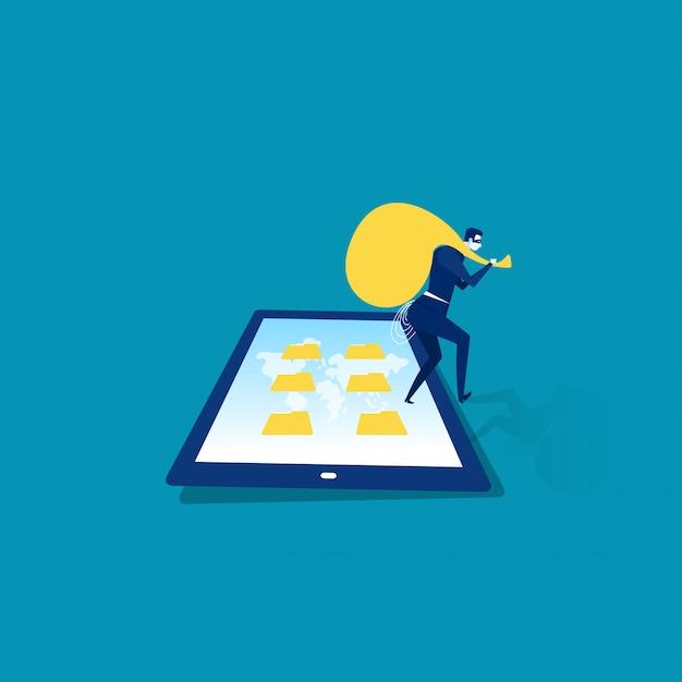 タブレットとスマートフォンの画面イラストレーターでビジネス男泥棒 Premiumベクター