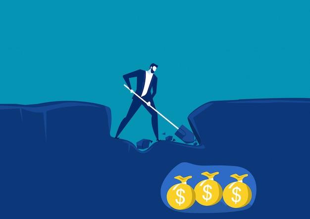 Бизнесмен копать с лопатой и очень близко к успеху с деньгами золотом под землей. концептуальная векторная иллюстрация Premium векторы