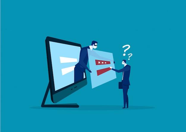 Бизнесмен вор хакер в маске крадет пароли и логин компьютер интернет безопасность Premium векторы