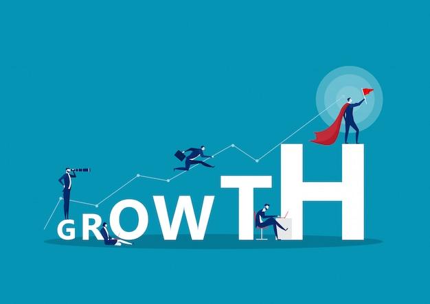 成長単語概念バナー。人とコンセプト Premiumベクター