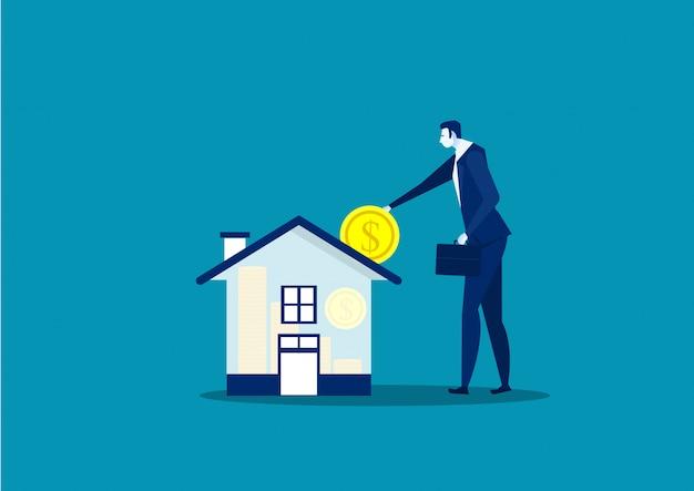 Экономьте деньги на собственность дома бизнесменом Premium векторы