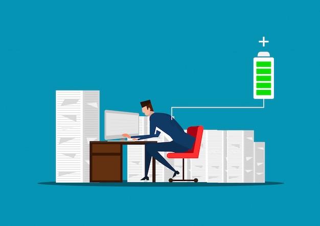 ビジネスマンやマネージャーの書類の山のそばに座っています。仕事に十分なエネルギー。バッテリーを充電してください。図 Premiumベクター