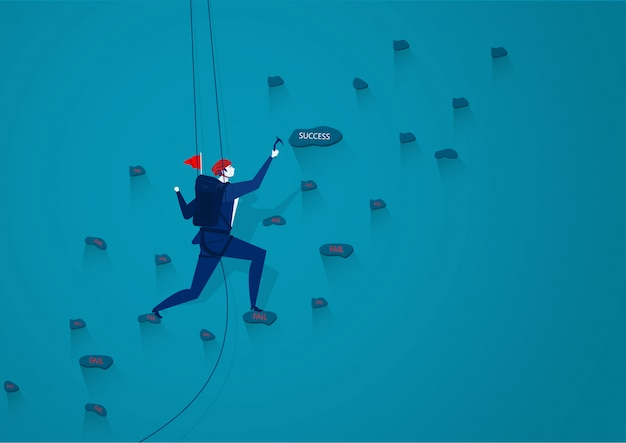 ビジネスマンは成功の図を転送するロープで山を登っています Premiumベクター