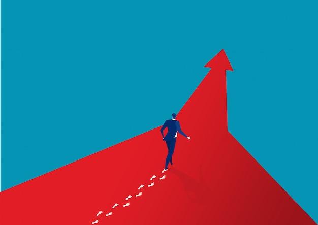 前方に成功を歩くビジネスマン Premiumベクター