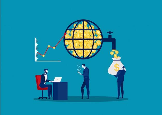 Мировой финансовый рынок. фондовая биржа. финансовый менеджмент и анализ финансовых данных. деловая команда. векторная иллюстрация Premium векторы