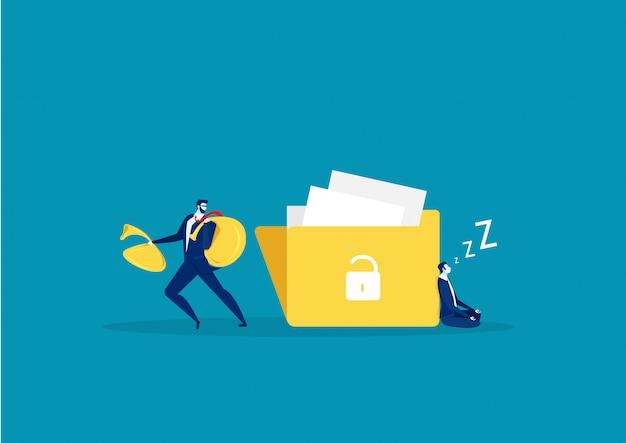 手を持つ男は、大きなファイルから情報を盗もうとしています。フラットなデザイン、ベクトル図、ベクトル。 Premiumベクター