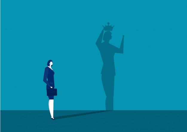 実業家は彼女の影で王冠を取得します Premiumベクター
