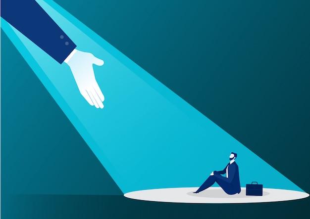 青の光からビジネスマンを助ける手 Premiumベクター