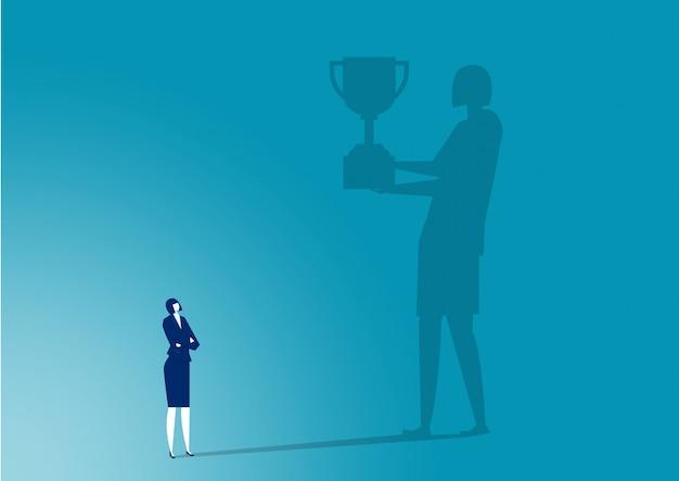 Предприниматель воображения к награде, чтобы добиться успеха иллюстрации Premium векторы