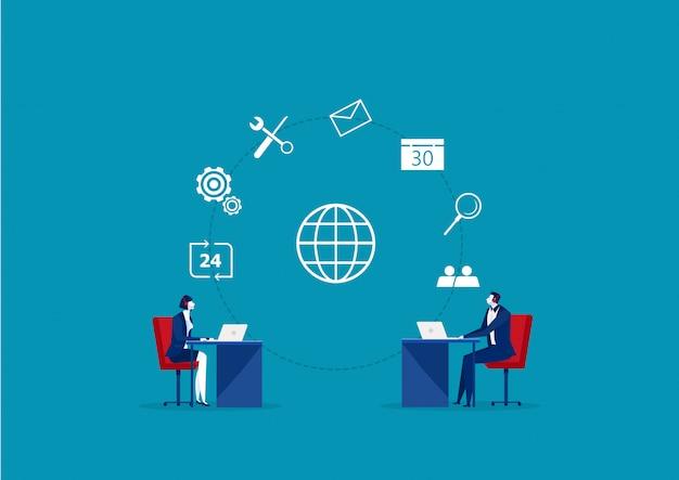 ビジネスオペレーターのクライアントコミュニケーション、スペシャリストがクライアントの問題をオンラインで解決 Premiumベクター