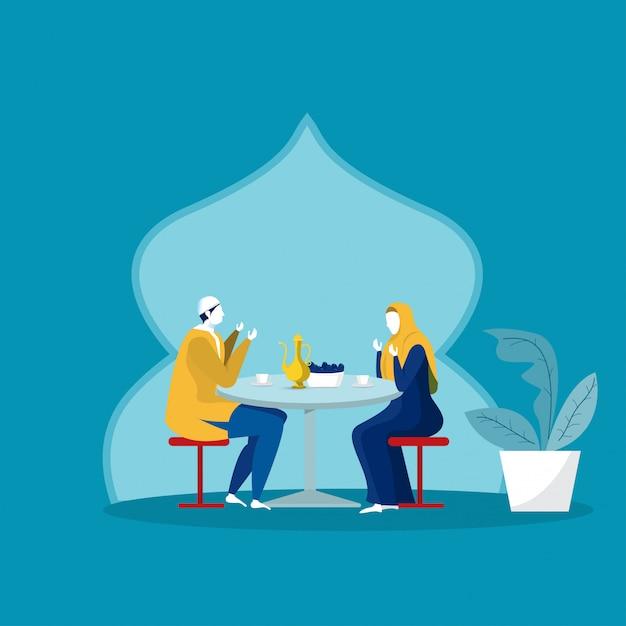 Мусульманский семейный ужин на рамадан карим Premium векторы