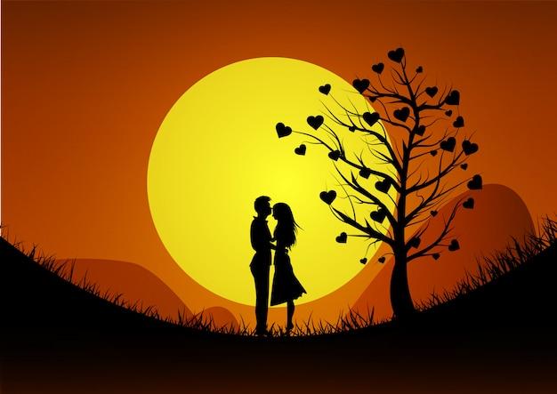 幸せなバレンタインデーのイラスト。夕日を背景に山でカップルを愛するのロマンチックなシルエット。 Premiumベクター
