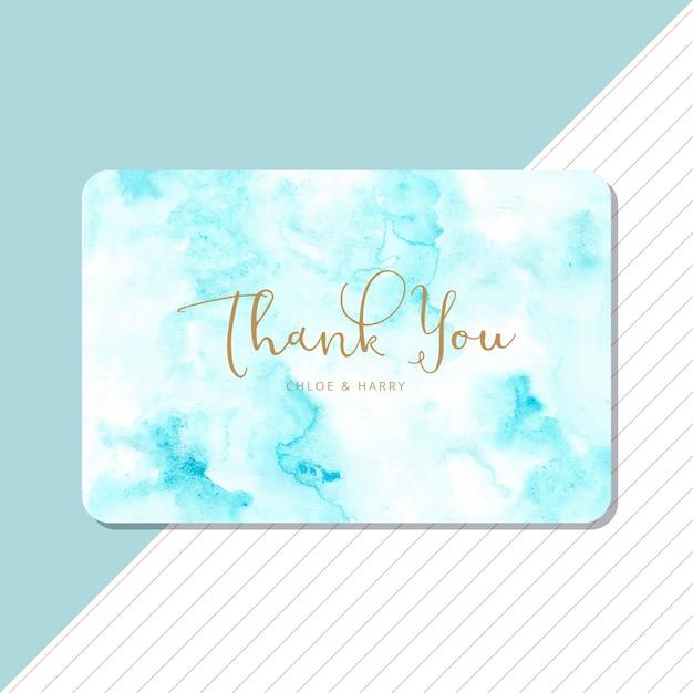 青の抽象的な水彩画の背景を持つありがとうカード Premiumベクター
