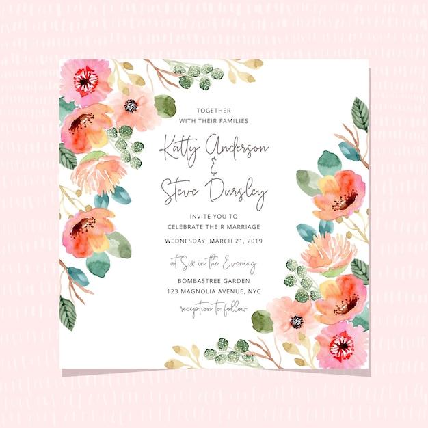 美しい水彩画の花のフレームとの結婚式の招待状 Premiumベクター